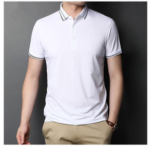 Summer Mens Business Polos Solid Color Lapel Neck Mens Short Sleeve Tshirts Trendy Males Casual Tshirts