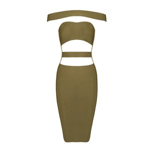 2016 new arrival top quality women khaki green white black off shoulder Celebrity Bandage Dress Prom Club Party Dress + suit