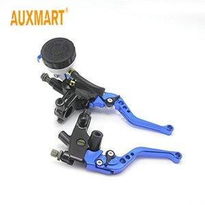 "Auxmart 2pcs Universal 7 8"" 22mm Handlebar CNC Front Brake Pump Clutch Master Cylinder Reservoir Levers (Blue)"