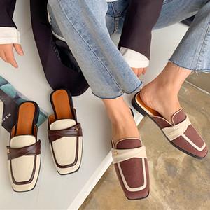 2020 Été femmes Pu cuir Strappy Mule Escarpin Sandales Chaussons Femmes talons Chaussures plates bout carré Femme Slides Chaussons Casual