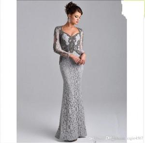 Além disso Vestido formal 2020 New Grey mangas compridas Mãe da sereia do frisada Arábia Árabe Partido longa noite noiva Lace Vestidos Tamanho das Mães