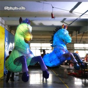 RGB LED Işık İçin İl Gece Parade gösterisi ile Yetişkin Giyilebilir Aydınlatma Şişme At kostüm 3m Yürüyüş Blow Up Hayvan Maskot At Suits