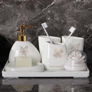 6PCS / 세트 황금 나뭇잎 도자기 욕실 액세서리 세트 비누 디스펜서 / 칫솔 홀더 / 텀블러 / 비누 접시 욕실 제품