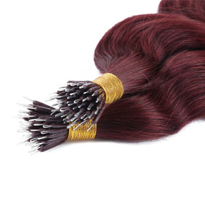 Nano Anello Onda profonda Nano punta di estensioni dei capelli di alta qualità dei capelli 1g / strand 150strands / lot 99J peli di colore