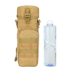 Tactical Molle Water Bottle Pouch with Shoulder Strap Travel Kettle Holder Bag Outdoor Hydration Carrier for Camping Hiking