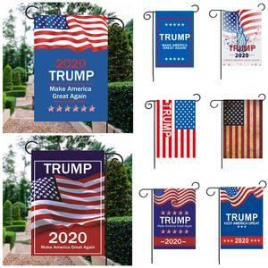 Trump 2020 30 * 45cm Bandera de jardín 12 colores American President Election Guide Banner Trump 2020 Bandera de jardín decorativo al aire libre BH2026 TQQ