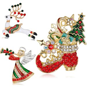 Fashion Jewelry Christmas Brooch Rhinestone Crystal Brooches Jeweled Deer Angel Christmas Boots Brooch And Pin Clothes Decor Christmas Gifts