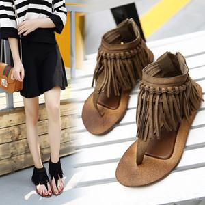 Hiçbir Mobi Fairy2019 Yeni Kore Düz Püsküller Tutam Geri Fermuar Sandalet bayan Ayakkabıları