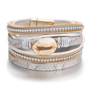 LURUIXU Shell Vintage cristal Braceletes Bangle Mulher For Men Moda Handmade Multilayer Couro druzy Bracelet Jóias