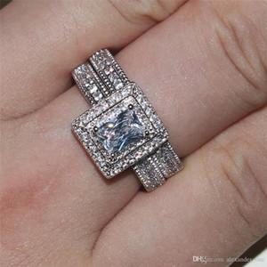 Best4UU 2020 or blanc Lady Viatage 10KT rempli Anneaux carré Simulations pierres précieuses diamants CZ Bagues doigt ensembles bijoux de mariage mariée femmes