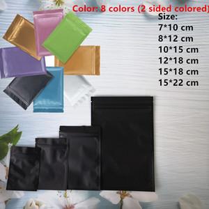 bolsas de plástico mylar del papel de aluminio bolsa con cremallera para almacenamiento a largo plazo y objetos de colección de alimentos de protección 8 coloreado colores dos laterales