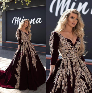Burgund 2020 Dubai Arabisch Ballkleid Abendkleider Spitze Appliqued Berühmtheit V-Ausschnitt Langarm-Abend-Kleider formalen Festzug-Kleid BC2816