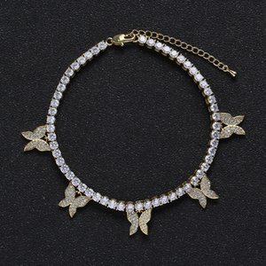 Europe and America Hotdale Women Anklets 4mm Gold Plated CZ Butterfly Tennis Anklets Bracelet Chains for Girls Women Hot Gift