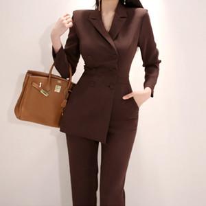 Новая взлетно-посадочной полосы Корея Женщины Нерегулярное Комбинезон двубортный блейзер куртки тонкий карандаш брюки женщина бизнеса Комбинезон 1759