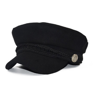 Fashionable wool hat shade military octagonal hat autumn and winter retro patchwork beret female English style