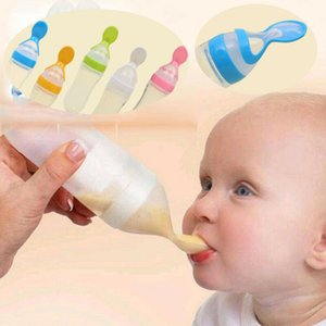 90ml Baby Feeding Bottles Quality Soft Silicone Spoon Cereal Bottle Baby Rice Cereal Eat-bottle Weaning Supplem