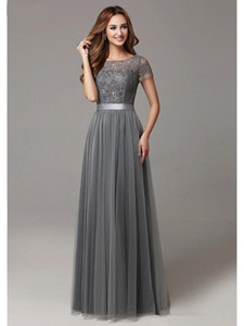 2020 New Grey Long Modest Bridesmaid Dresses With Cap Sleeves Lace Tulle Short Sleeves Sheer Neckline Formal Wedding Party Dress Real
