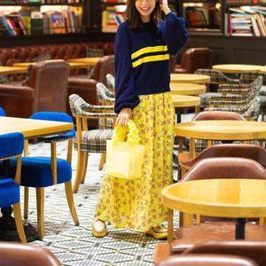 Flor falda de las mujeres de la falda de impresión amarillo limón