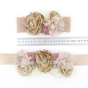 Baby Accessories Baby Girl Headband Matching Sash Belt Set Vintage Rhineston Chiffon Flower Waist Band Wedding Photography Props