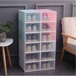 Claro plegable zapatos Caja de almacenamiento de plástico apilables Espesar Zapatos Organizador Caja apilable ahorro de espacio a prueba de polvo Caja IIA113