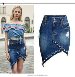 Modedesigner MING YUAN XIAO XIANG FENG Damenrock Neuer unregelmäßiger, genagelter Jean-Rock in halber Länge mit Hüft- und Hüftrock