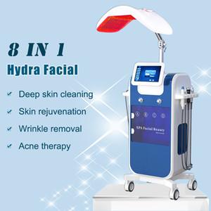 La nueva llegada 8 en la piel 1 DIAMOND MICRODERMABRASION limpia la piel facial ultrasónico ultrasonido Scrubber Peeling LED de la terapia de la máquina