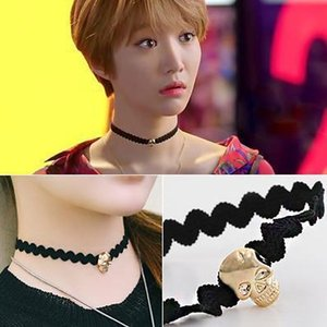 Fashion Chokers Black Velvet Skull Necklaces Women Punk Style Goth Ring Collar Choker Funky Gothic Short Chain Necklace Halloween Jewelry
