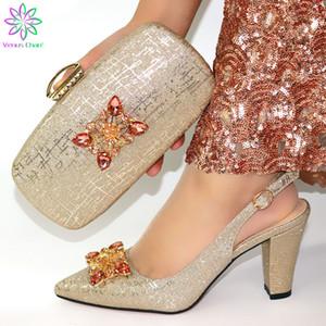 Nuovo arrivo Light Gold scarpe italiane e sacchetto regola vendita calda Shoes africane e sacchetto regola per Party In Italia le donne
