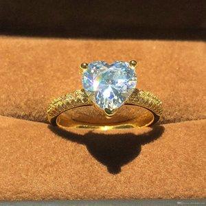 Best4UU luxe 14K Couleur Bijoux 925 Bague en argent réel pour les femmes Coeur Romantique 2 Carat Simulé Bagues de fiançailles de mariage de diamant