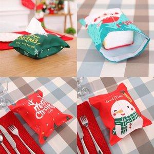 크리스마스 장식 조직 상자 능직 원단 티슈 박스 커버 메리 크리스마스 산타 눈사람 인쇄 티슈 상자 DHF265