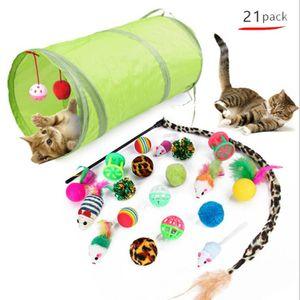 Cat Toy Cats adorável peixe Corda Tunnel Bola rato de brinquedo Set Plush Teaser Crinkle Esponja Bolas Atacado Cat Brinquedos 21pcs WY601Q