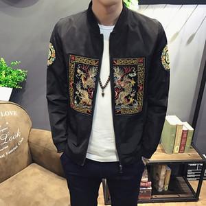 Stile cinese Uomo Casual Bomber Jacket autunno nuovo modo lungo Pao ricamo Uomo Slim Fit collare del basamento Windbreaker