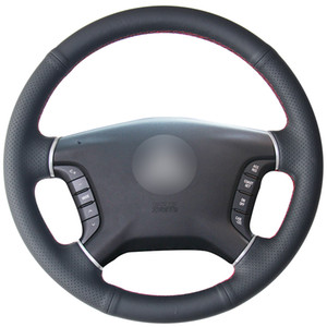 Black Natural Leather Car Steering Wheel Cover for Mitsubishi Pajero 2007-2014 Galant 2008-2012