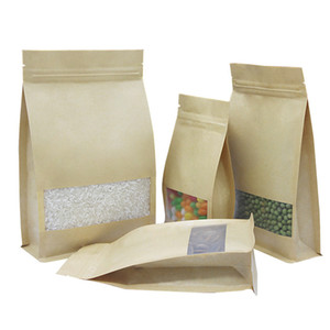 50 pezzi 6 formati otto bordo in piedi carta kraft zip pacchetto sacchetto riciclabile anti-umidità cerniera cibo sacchetto di immagazzinaggio sacchetti di imballaggio della caramella