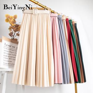 Beiyingni 20colors Yaz Katı Vintage Kadının Etek Pileli Kuşaklı Harajuku Casual Slim Uzun Promosyonlar Etek Lady Preppy Saia