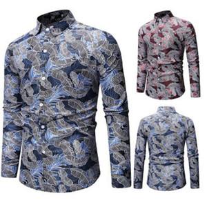 Audoc Mens Весна и лето Геометрические Нерегулярные модные цветные блузки Рубашки Марка с длинным рукавом Плюс Размер Рубашки Мужские повседневные