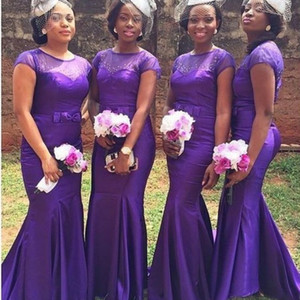 2020 African Lila Brautjungfernkleider elegante Nixe mit Perlen kurzen Ärmeln Kleid für Hochzeitsfest vestido dama de honor