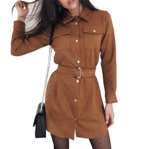 TAOVK Autumn Woman Solid Color Single Breasted Turn Down Collar Long Sleeve Suede Dress with Belt MX200508