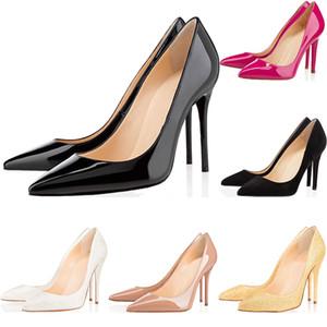 Christain Louboutin 2019 Tasarımcı Lüks Toptan Kadınlar Siyah Koyun Çıplak Patent Deri Poined Toe Kadınlar için Kırmızı Alt Yüksek Topuklu Ayakkabı Pompalar Düğün