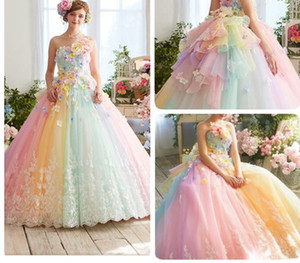 2020 New Jolie arc-en-Tutu coloré robes de bal 3D Fleur dentelle Puffy boule Robes Vestido Formatura Abiye Volants Robes de soirée