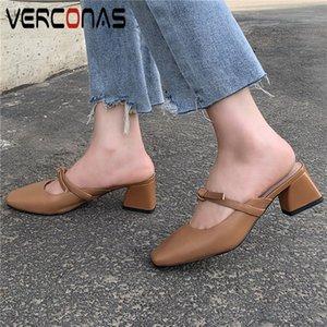 VERCONAS Женщина Тапочки Мулы Узелок Толстого каблук из натуральной кожи Сжатых площадей носок сандалии на высоком каблук неглубокой обувь женщина