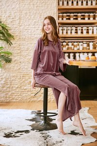 2019 New women loungewear solid color long sleeve pink pajama set