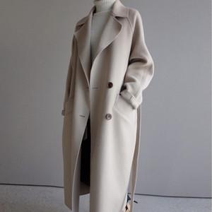 Sonbahar Kış Ceket Kadınlar Koreli Yün Coat Kadın Vintage Yün Coat Büyük Boy Coats Kadın Giyim 2019 Abrigo Mujer MY2284