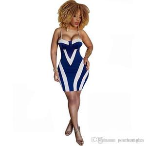 Il nuovo modo sexy Print Bag a strisce Hip Dress della cinghia di spaghetti Club Badycon Dress Designer femminile Abbigliamento