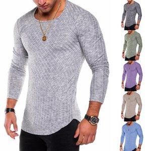 Ras du cou Designer Hommes T-shirts manches longues Printemps Automne Couleur unie Hommes Hauts Casual Slim Homme T-shirts