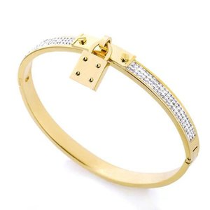 Top Quality Luxury Designer Jewelry Women Bracelets Stainless Steel Cuff Bracelet Pave Silver Rose Gold Tone Charms Lock Bangle Je156489e6e#