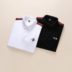 Italien Marke Designer-Polohemd Luxus-T-Shirts Schlange Biene Blumenstickerei mens polos High Street Fashion Streifendruck Polo-T-Shirt