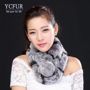 YCFUR warme Winter Schal Wraps Frauen handgemachte natürlicher Rex Pelz-Schal Wraps Frau mit Pelz Pom-Ansatz-Schal Damen