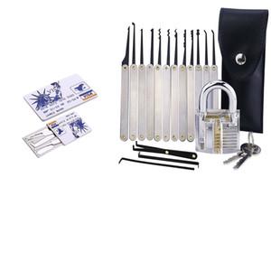 Professional Cutaway 7 pinos 12pcs Cadeado + Aço inoxidável transparentes / set bloqueio Escolha Set + 5pcs Cartão de Crédito Bloqueio Escolha LocksmithTools set