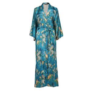 Quality Silk Plus Size Chinese Women Robe Vintage Print Kimono Bathrobe Home Dress Gown Long Nightgown Green Flower Sleepwear